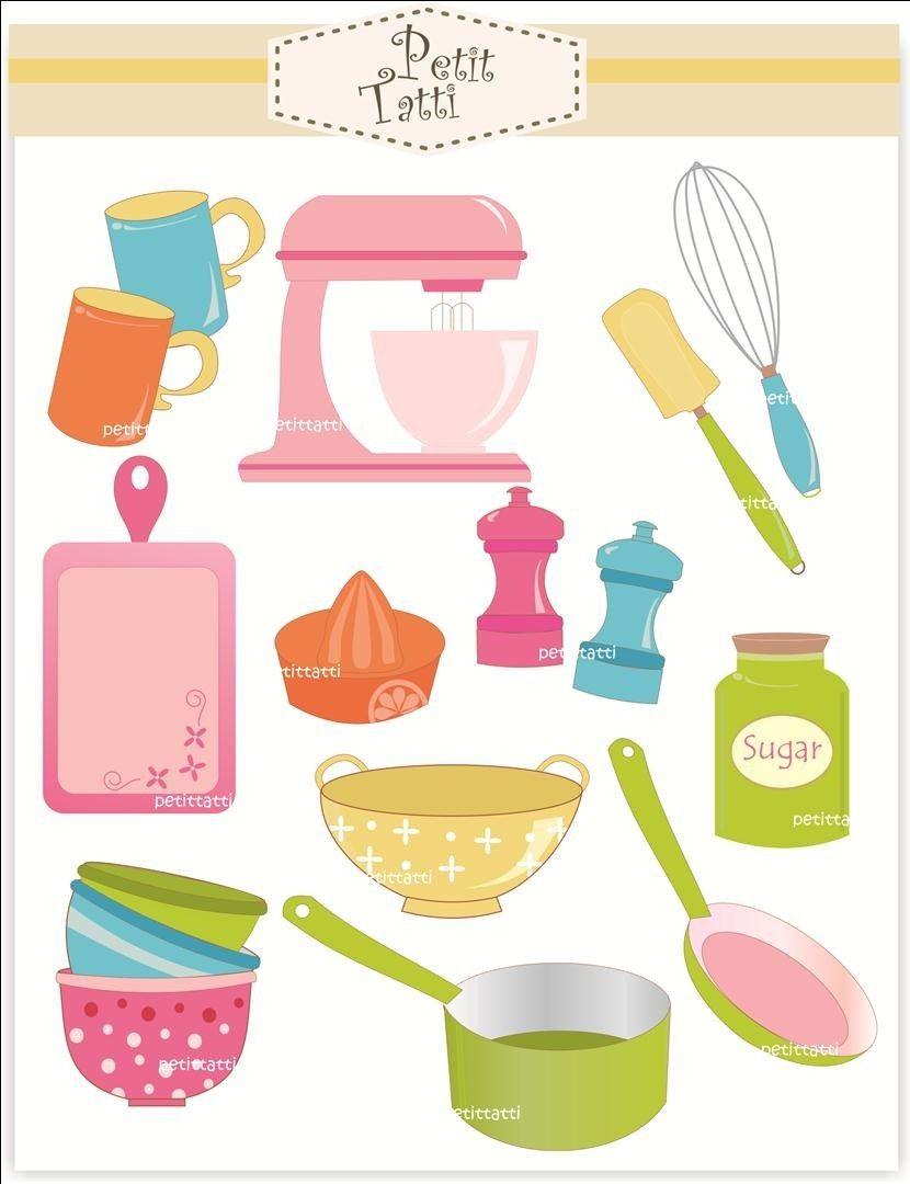 Kitchen Utensils Art cooking clip art // baking clip art - digital clip art, cooking