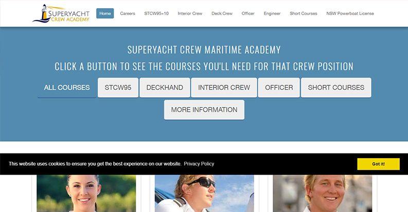 Website Designs For Maritime Institute Crew Training Superyacht Crew Academy Marketing Solution Online Marketing Power Boats