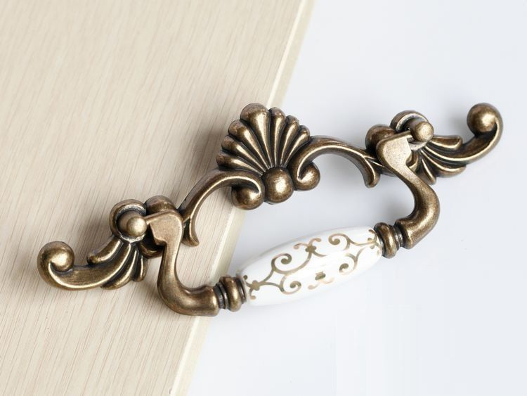 Dresser Pulls Handles Drawer Pulls Handles Knobs Drop Ring Pulls White Gold  Ceramic Antique Furniture Hardware Vintage Cabinet Pulls Knobs 4