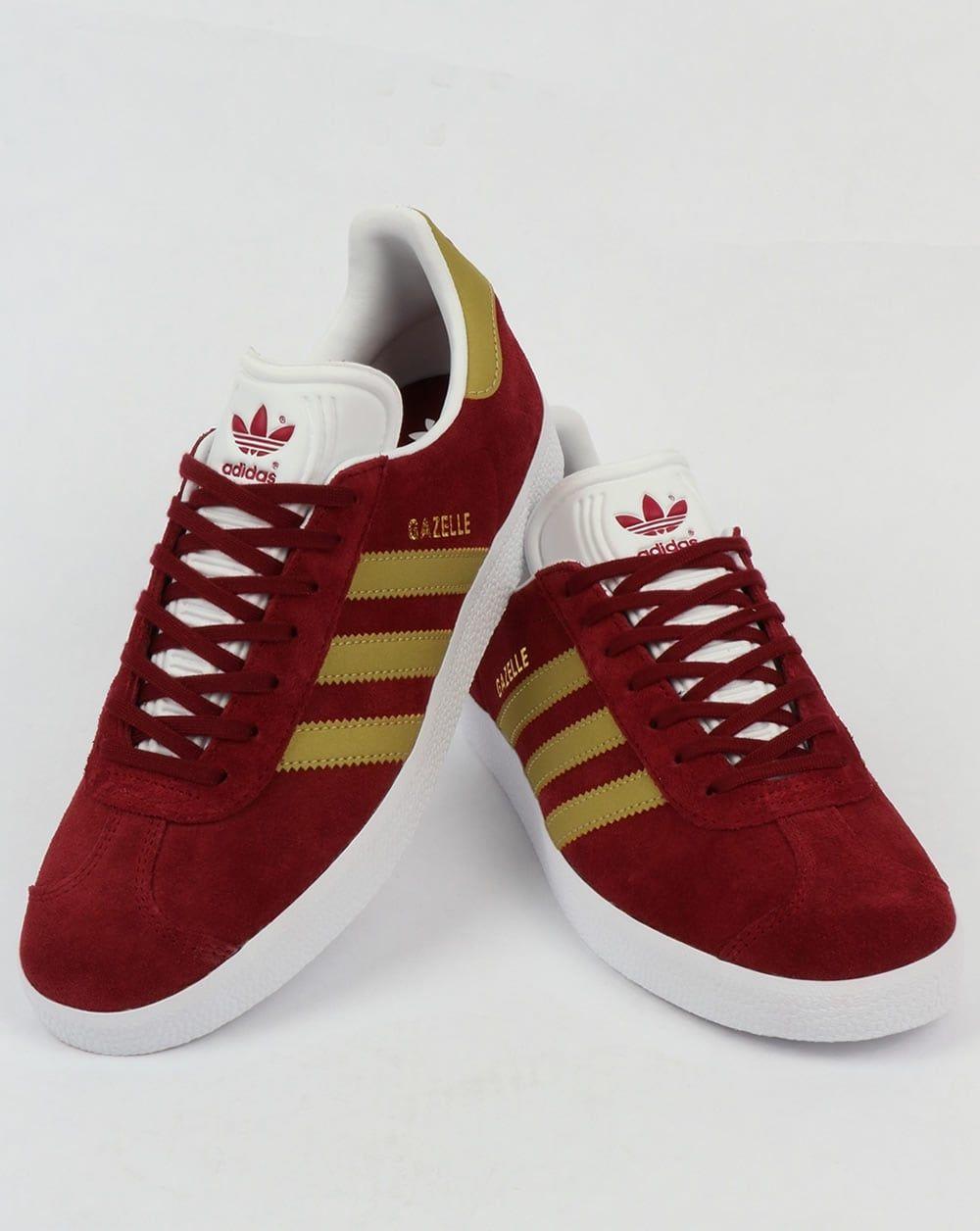 Adidas Gazelle Trainers Burgundy/Gold