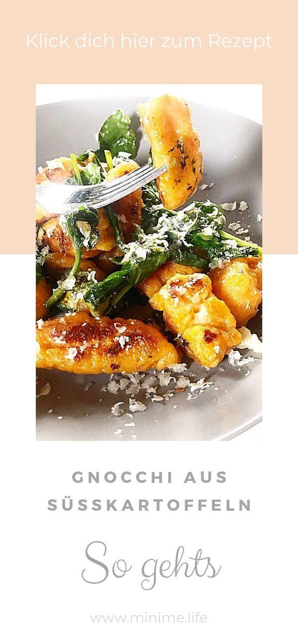 Süßkartoffelgnocchi mit Spinat und Parmesan - Mini.Me.