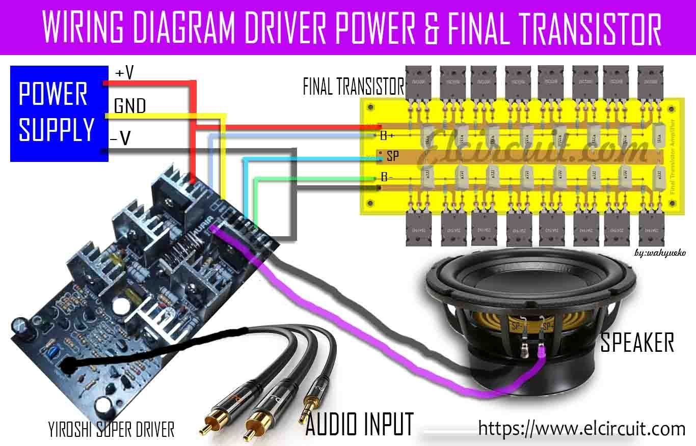 wiring diagram driver power amplifier and final power transistor [ 1366 x 876 Pixel ]