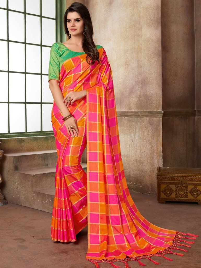 167c44a51f Multi Color Printed Art Silk Saree with Unstitched Blouse ...