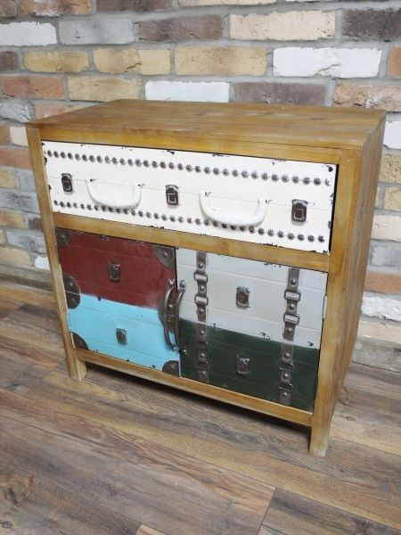 Vintage Luggage Style,Retro Wooden U0026 Metal Low Chest Of Drawers
