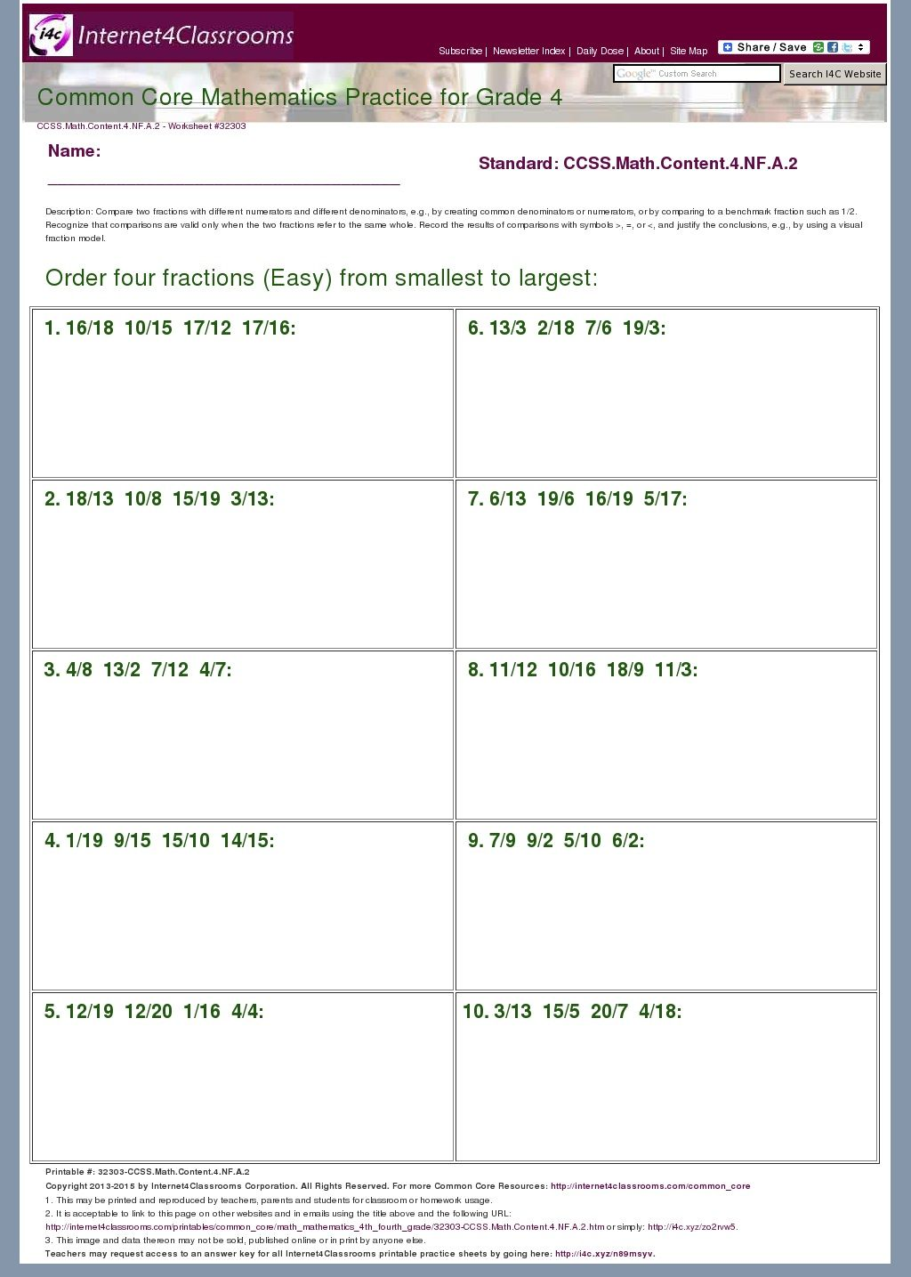 worksheet 4 Nf 6 Worksheets new worksheets available 4th grade order four fractions easy from smallest to