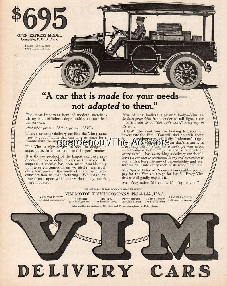 1916 vim motor truck philadelphia pa delivery car express for Motor vehicle philadelphia pa