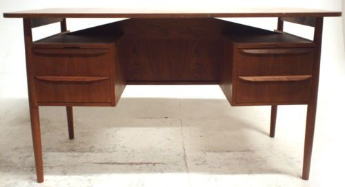 vintage danish teak twin pedestal desk by tibergaard retro office