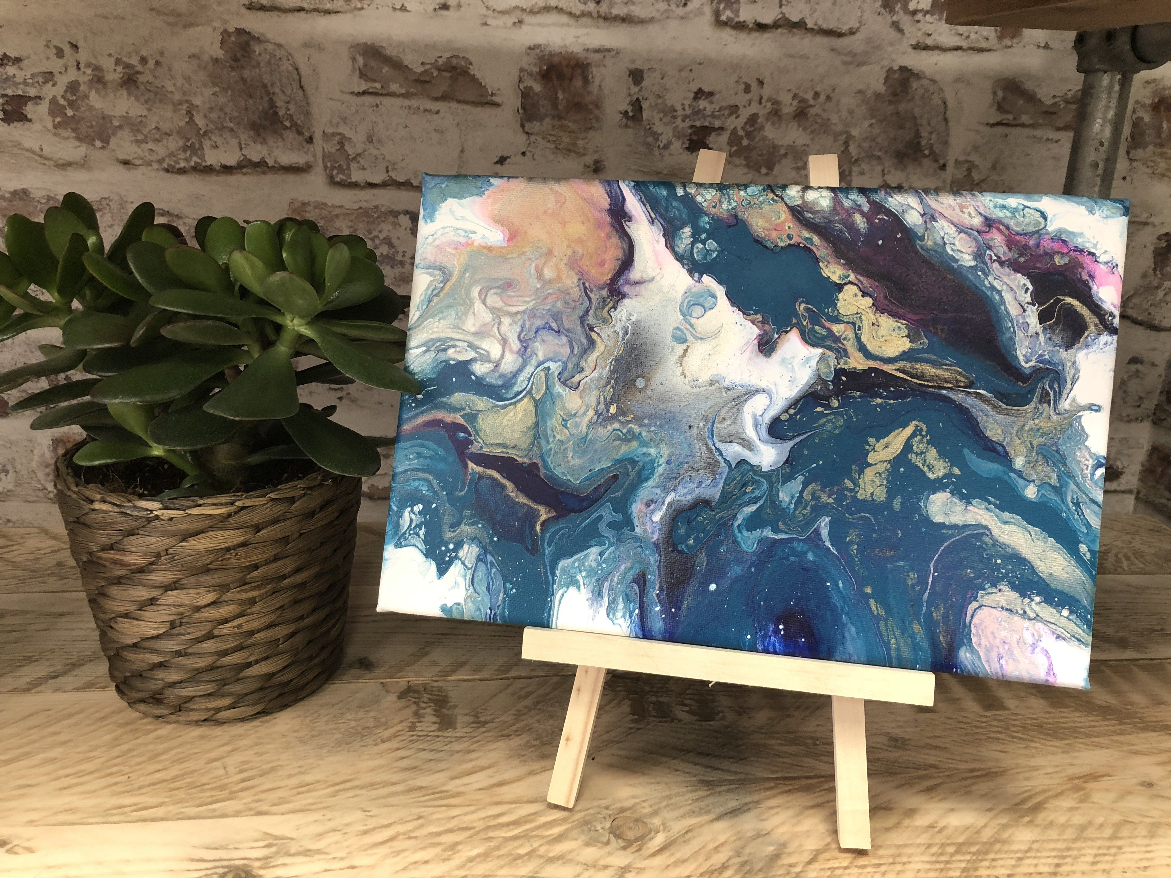 """PURPLE WAVES- Canvas Abstract Artwork- 11.5"""" x 7.5"""" with Easel"""