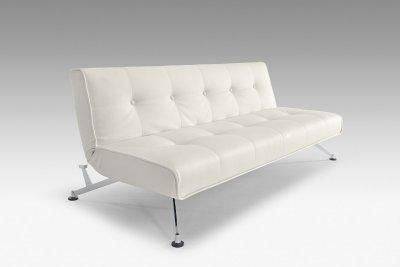 Wondrous White Full Leather Modern Convertible Sofa Bed W Chrome Legs Pdpeps Interior Chair Design Pdpepsorg