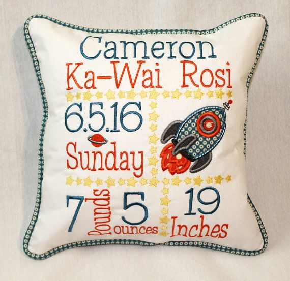 Custom Birth Announcement Pillow Embroidered by shirehillbaby