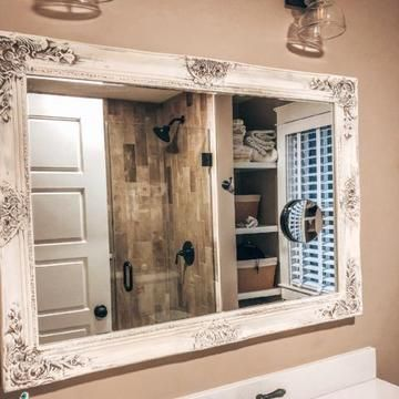 Dark Brown And White Distressed Bathroom Mirror French Country Bathroom Shabby Chic Bathroom Bathrooms Remodel