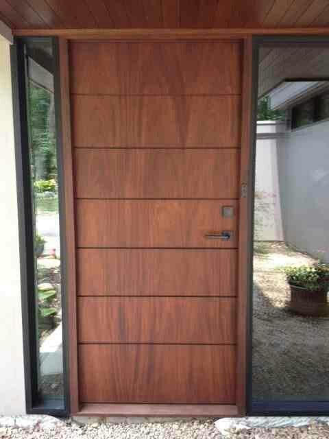 20 Best Modern Door Designs From Wood: Timber Door Cedar Soffit And Glass Side Panels.