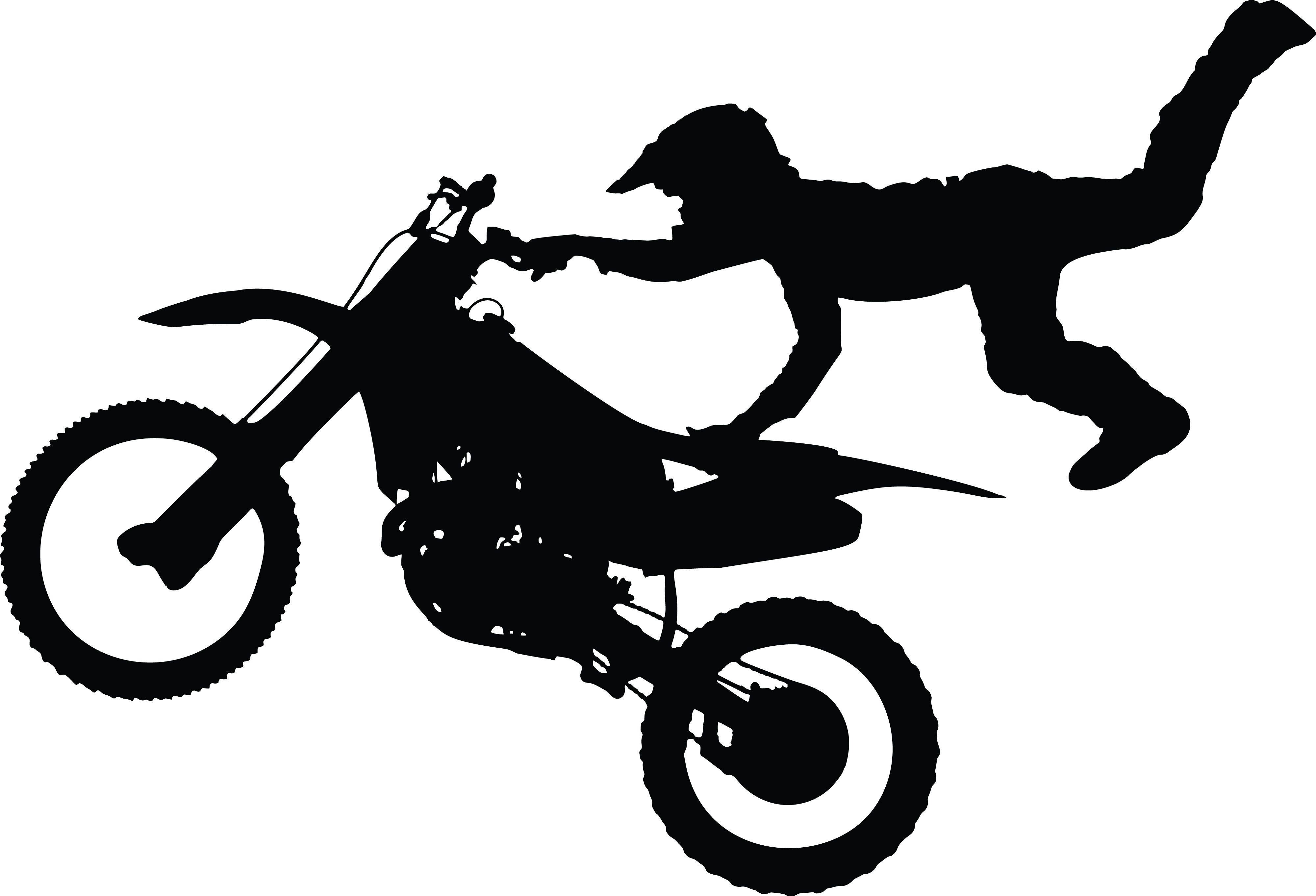 Clipart Of A Silhouetted Man Catching Air on a Dirt Bike