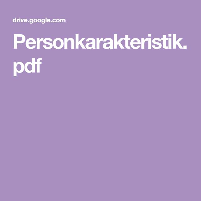 Personkarakteristik Pdf Undervisning