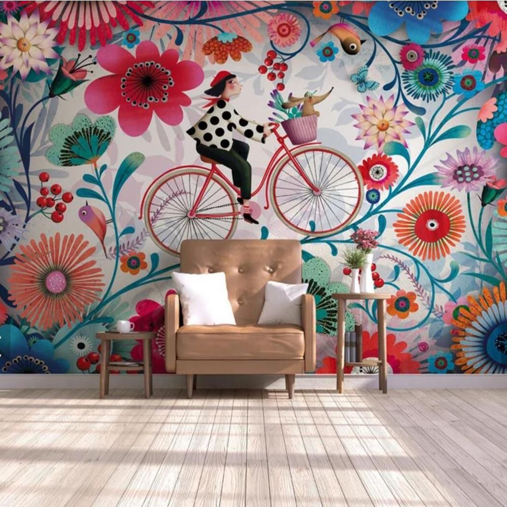 3d Painting Silk Cloth Mural Wallpaper Living Room Hand Drawn Floral Cyclist Girl Background Wallpape Wallpaper Living Room Kids Room Wallpaper Mural Wallpaper