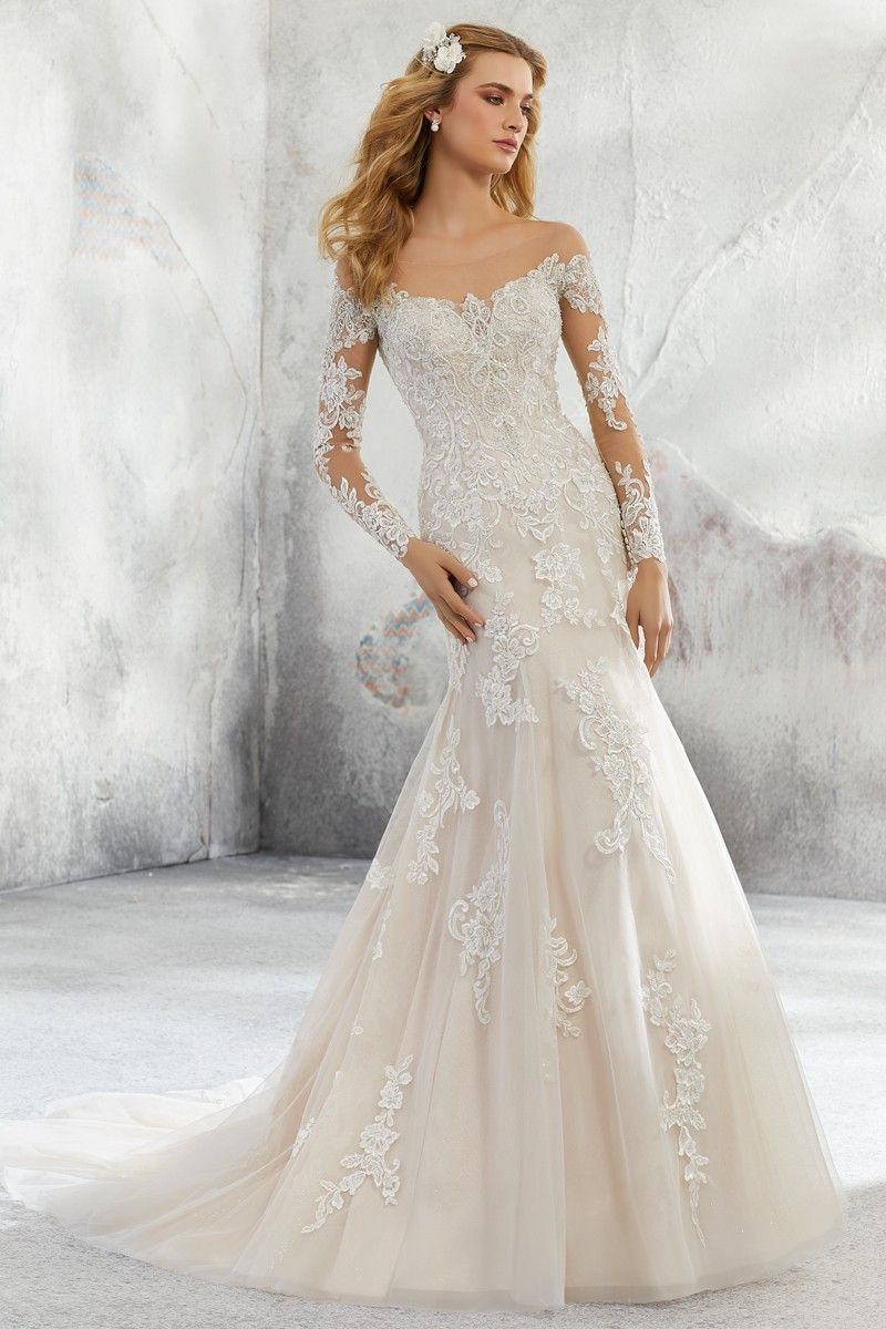 Wedding Dress Out Of Morilee By Madeline Gardner Leighton 8293 In 2020 Mori Lee Wedding Dress Wedding Dress Long Sleeve Fit And Flare Wedding Dress [ 1200 x 800 Pixel ]