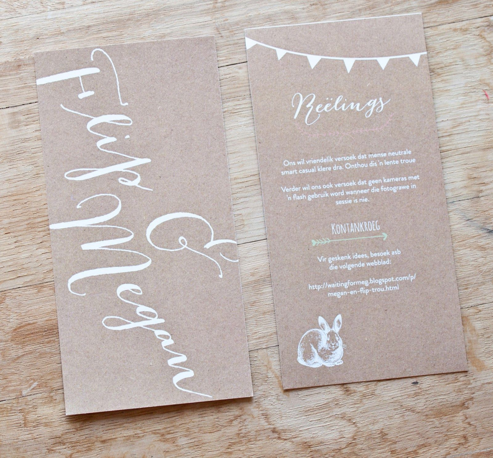 Kraft paper rustic wedding invites by Susan Brand