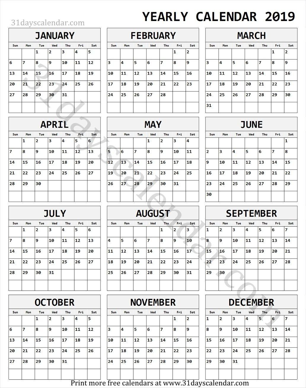2019 Calendar Free Download   Yearly Calendar 2019