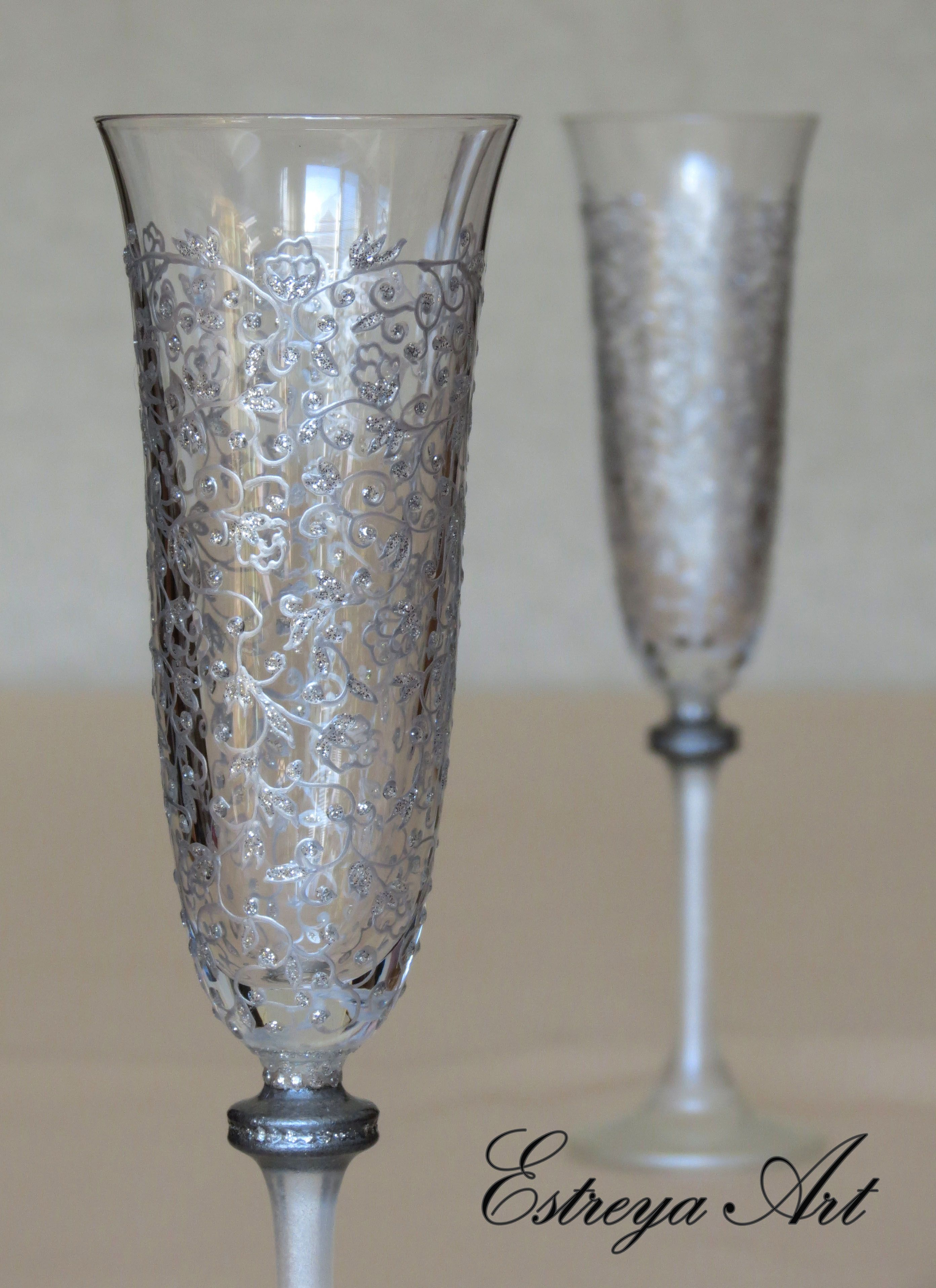 Wedding Hand Painted Flutes, Wedding Glasses, Painted Lace Glasses, Champagne