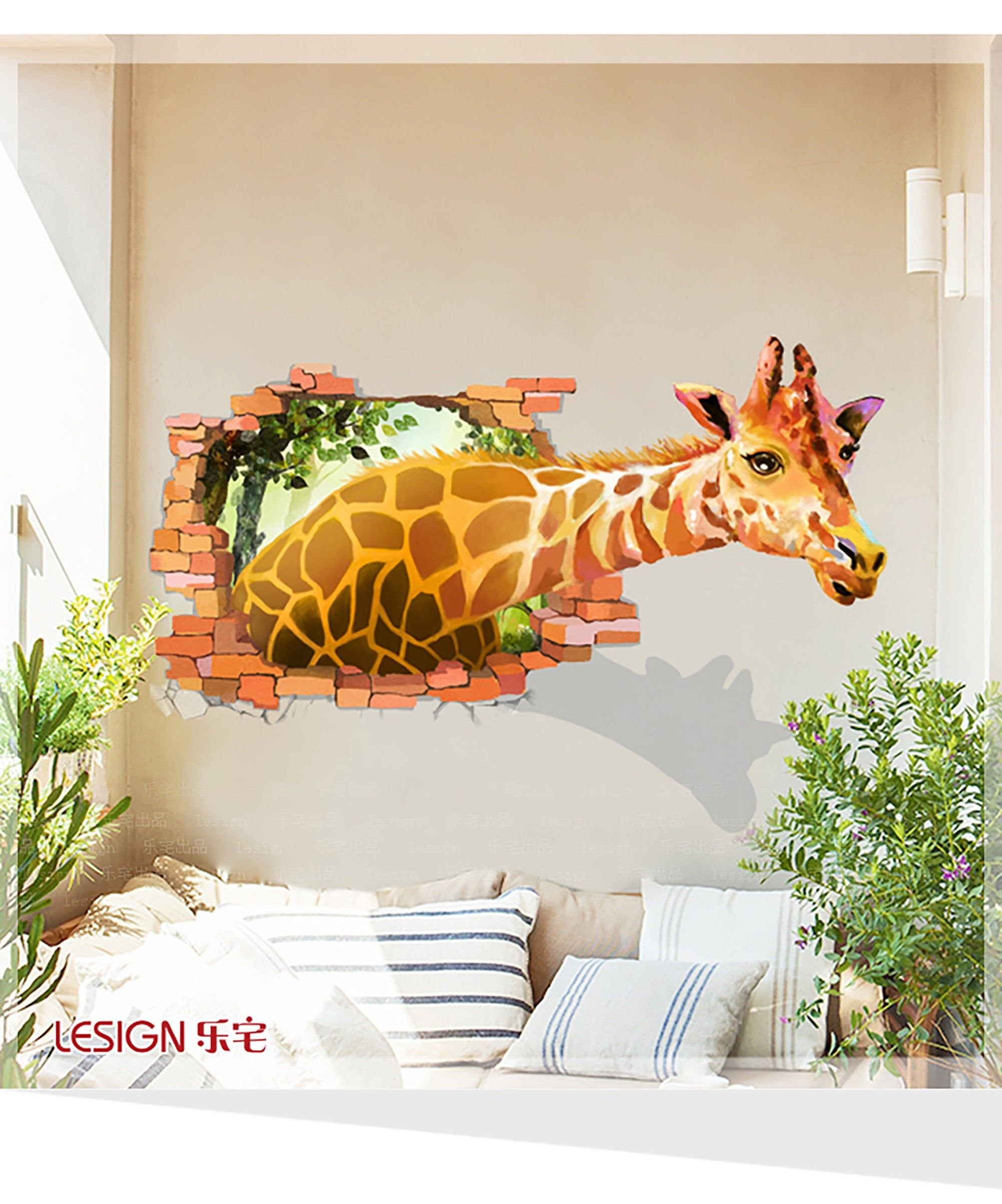 creative 3d cartoon giraffe wall sticker simple living on wall stickers for living room id=61870