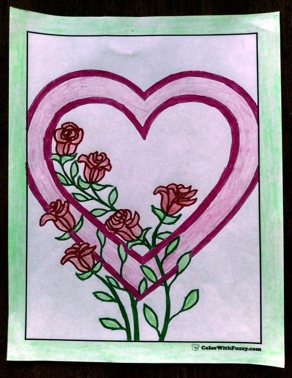 Coloring Pages For Kids Hearts And Roses Check Out S Colorwithfuzzy