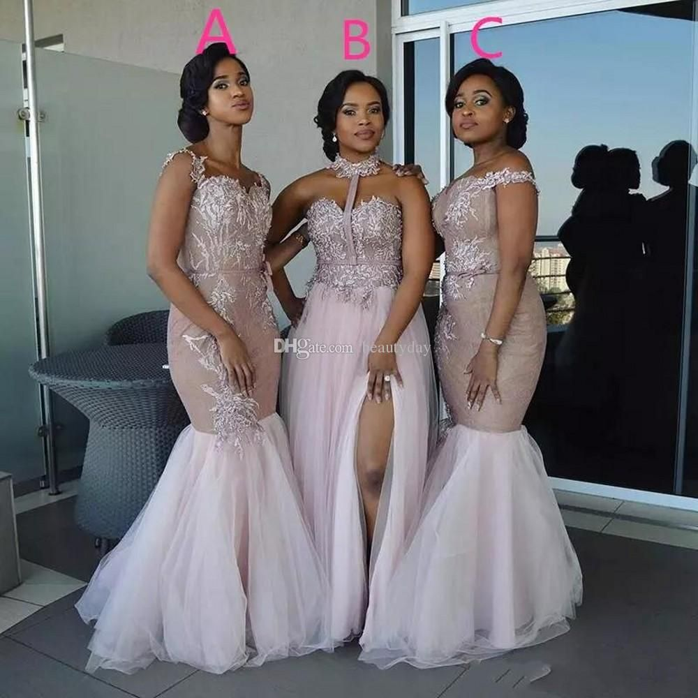 2018 Champagne Long Mermaid Bridesmaid Dresses Off The Shoulder Lace  Applique Beaded Country Wedding Guest Dress Plus Size Bridesmaids Dress  Bridesmaid ... cb685d712ed3