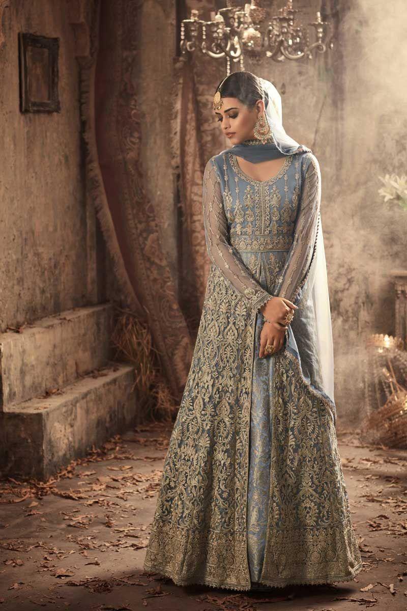 d81994b75d Grey-Wedding-Wear-Heavy-Embroidered-Net-Long-Sleeve-Floor-Touch ...
