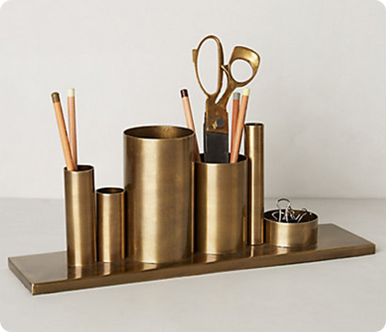 Gold Desk Organizer From Upcycled Materials Knockoffdecor Com Pencil Holder Office Accessories Desk Accessories