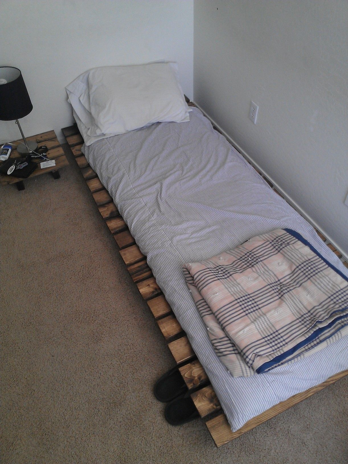Homemade Bed Nightstand And Japanese Futon