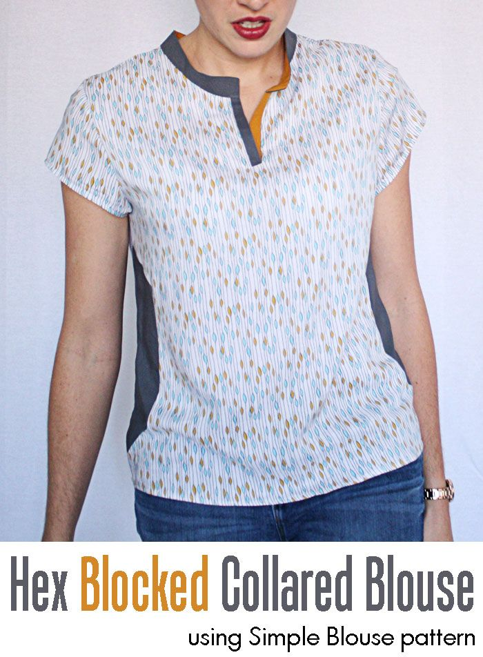 Running With Scissors: Simple Blouse Tutorial: Hex Color Blocking and Mandarin Collar