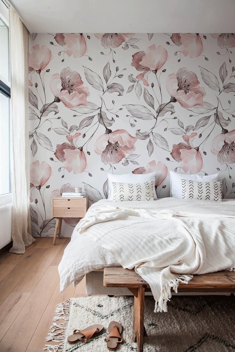Removable Wallpaper Peel And Stick Wallpaper Wall Paper Wall Etsy Floral Bedroom Wallpaper Design For Bedroom Wallpaper Decor