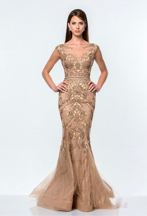 3219bbca6b02 Terani Couture - Beads and Jewel Detailed Mermaid Gown 151GL0425A In Gold