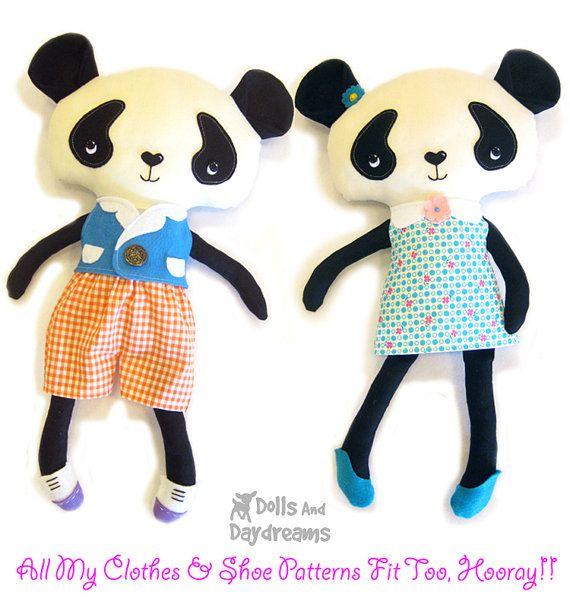 Panda Teddy Bear PDF Sewing Pattern Softie от DollsAndDaydreams ...
