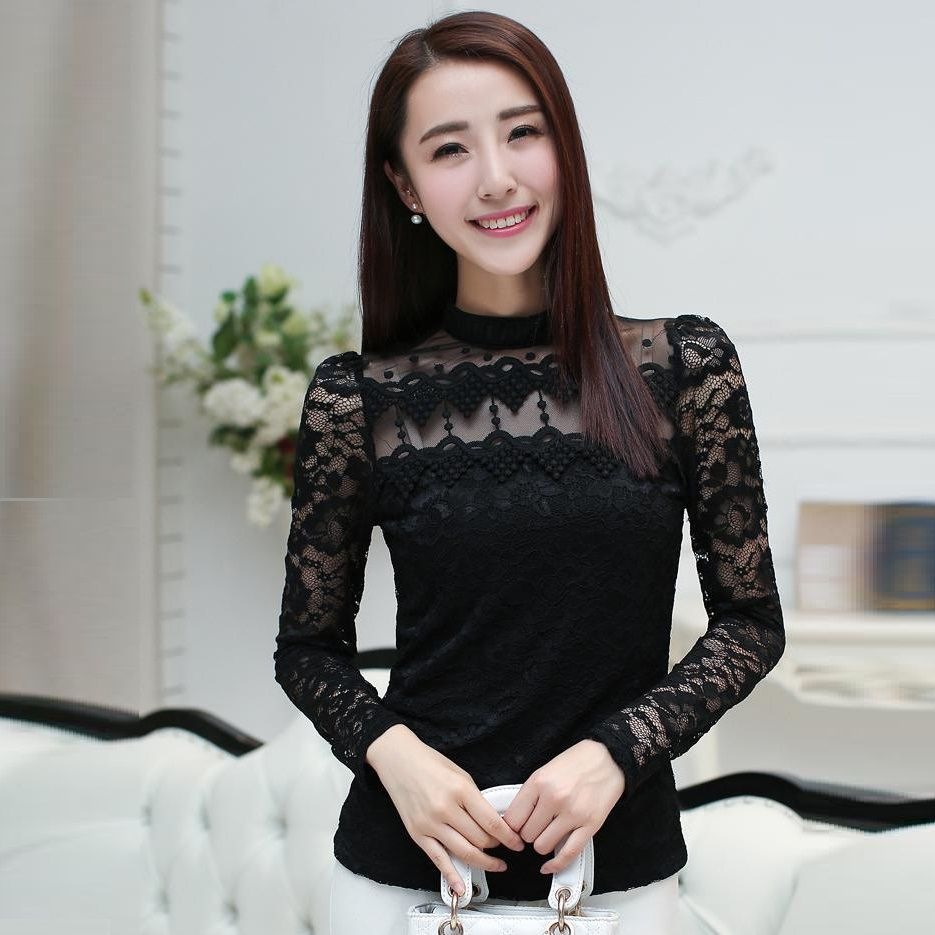 Click to buy ucuc iricheraf women lace tops stand collar autumn new