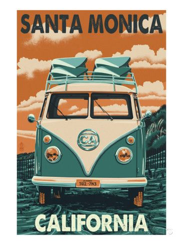Santa Monica, California VW Van Posters by Lantern Press
