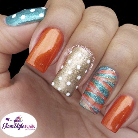 Here Comes The Bride With Some Awesome Nails: MARBLE ACCENT NAIL WITH BLUE & ORANGE