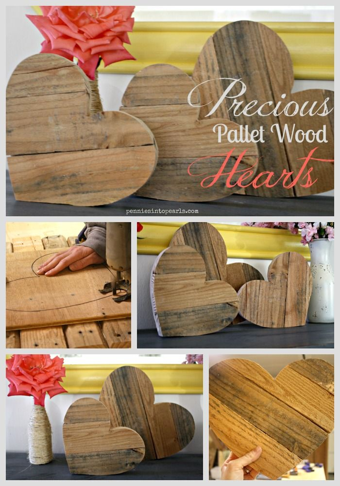 Precious Pallet Wood Hearts a DIY tutorial on how to transform pallet wood into a fancy and frugal chic home decor