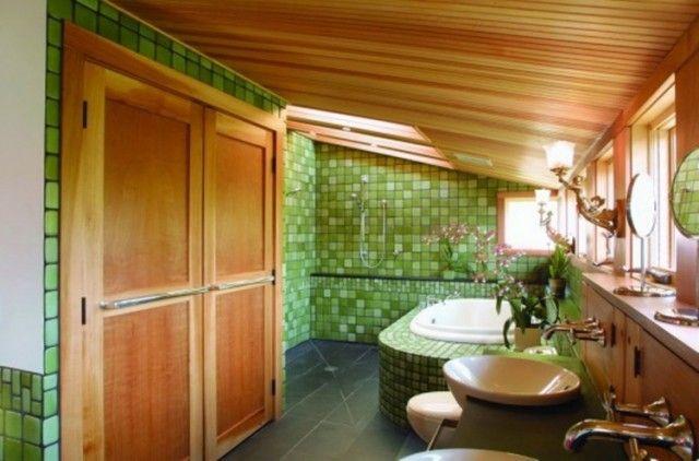 couleur salle de bain en 55 idées de carrelage et décoration - Carrelage Vert Salle De Bain