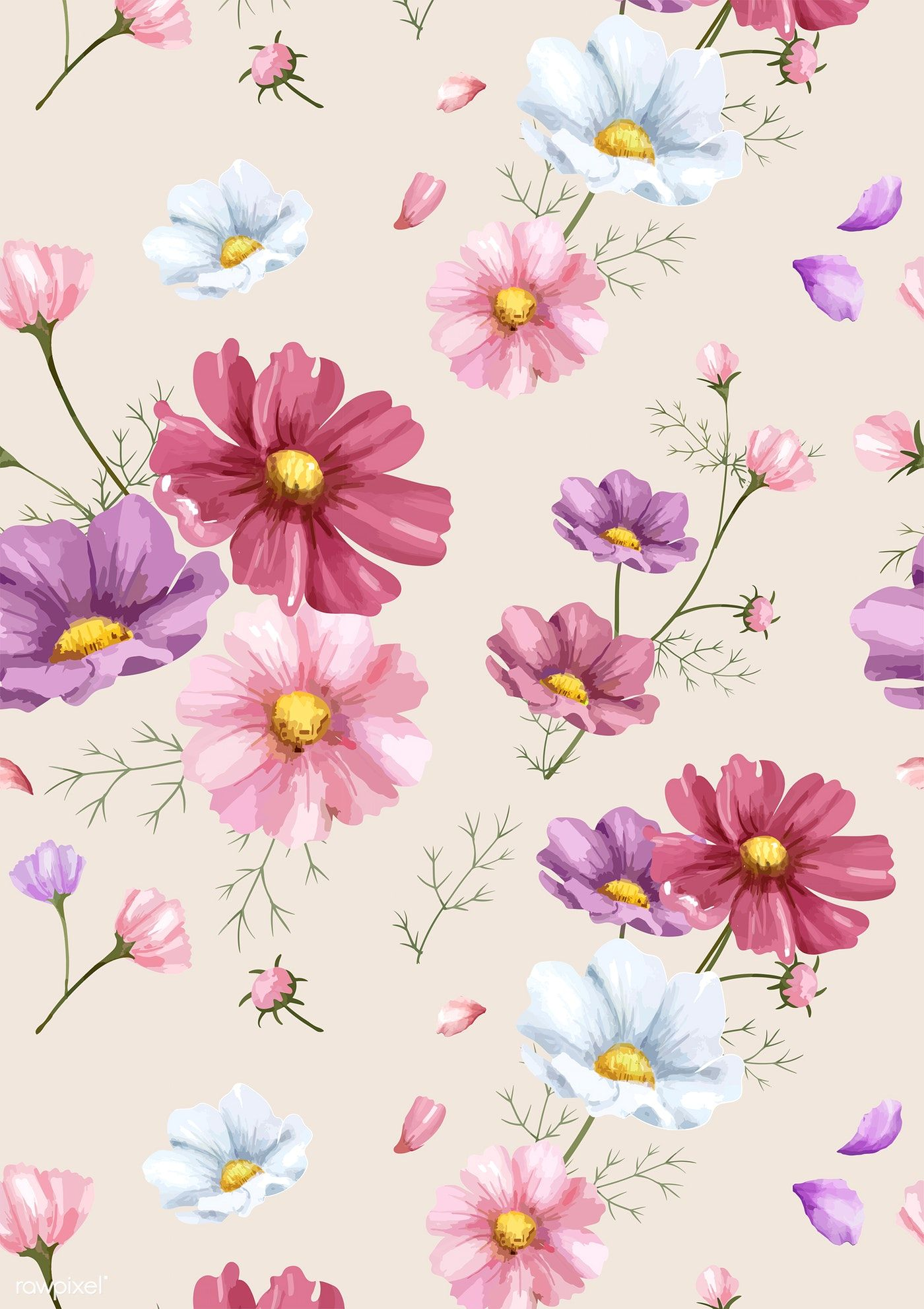 Download Premium Illustration Of Hand Drawn Cosmos Flower Pattern 421482 Flower Drawing Flower Drawing Design Watercolor Flowers