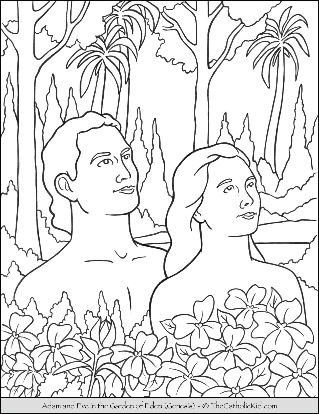 Bible Coloring Page Adam And Eve In The Garden Of Eden Thecatholickid Com Bible Coloring Pages Bible Coloring Printable Christmas Coloring Pages