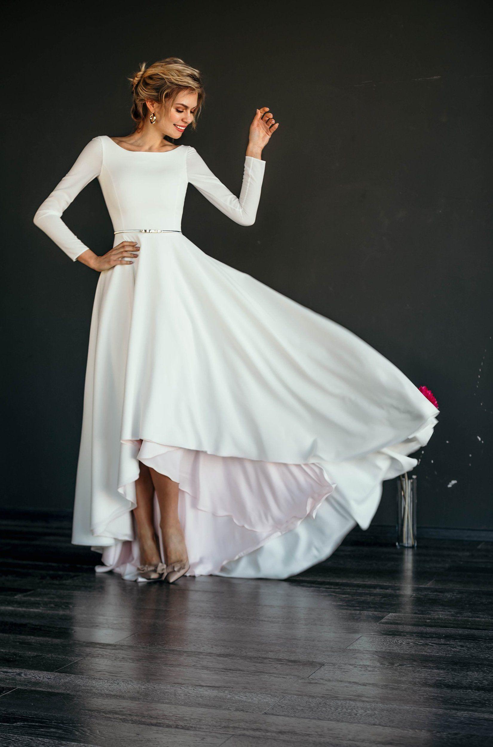 Makani Wedding Dress Multiple Colors Sophisticated Wedding Dresses Wedding Dresses High Low Modern Wedding Dress [ 2500 x 1650 Pixel ]