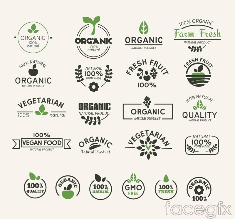 Free download 22 natural green food label vector   Free