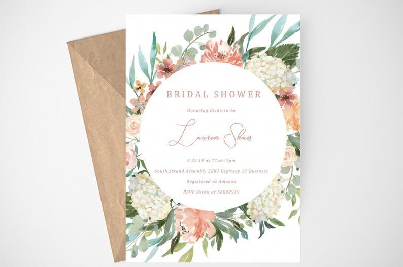 Watercolor Floral Bridal Luncheon Editable Templett Design Instant Download
