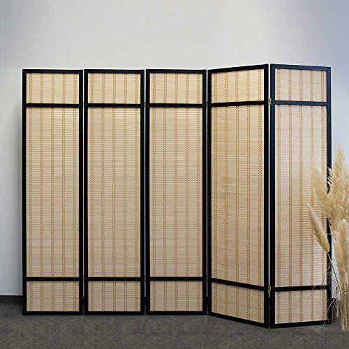 Paravent in Schwarz Bambus 200 cm breit Pharao24 Wohnen - bambus im wohnzimmer