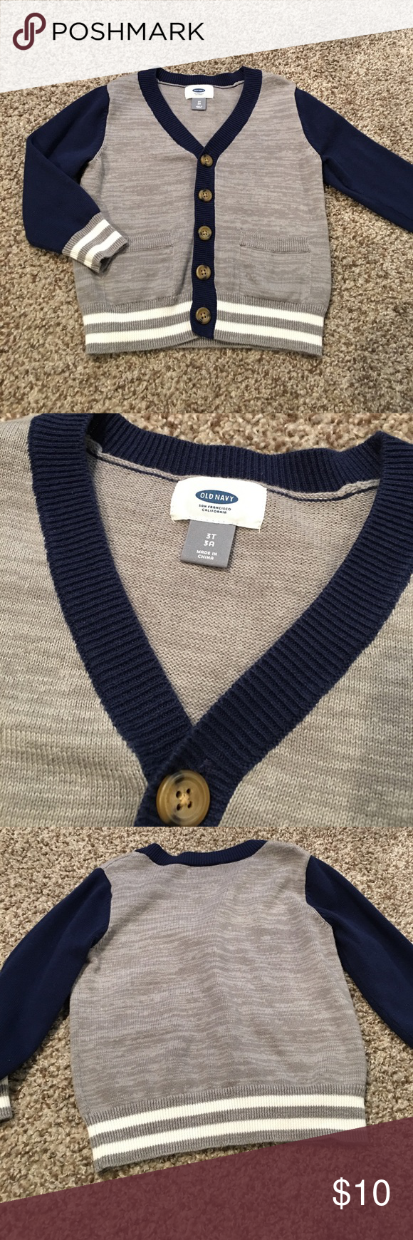 Toddler Cardigan Toddler old navy cardigan.  Blue grey and white. Never worn Old Navy Shirts & Tops Sweaters