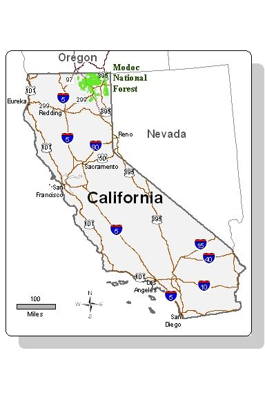 National Forests In California Map.A Map Showing The Location Of The Modoc National Forest In