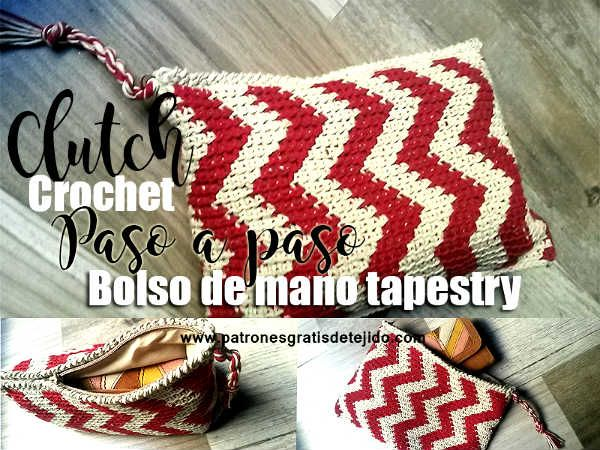 Clutch tapestry zig zag paso a paso crochet | Bags & cases patterns ...