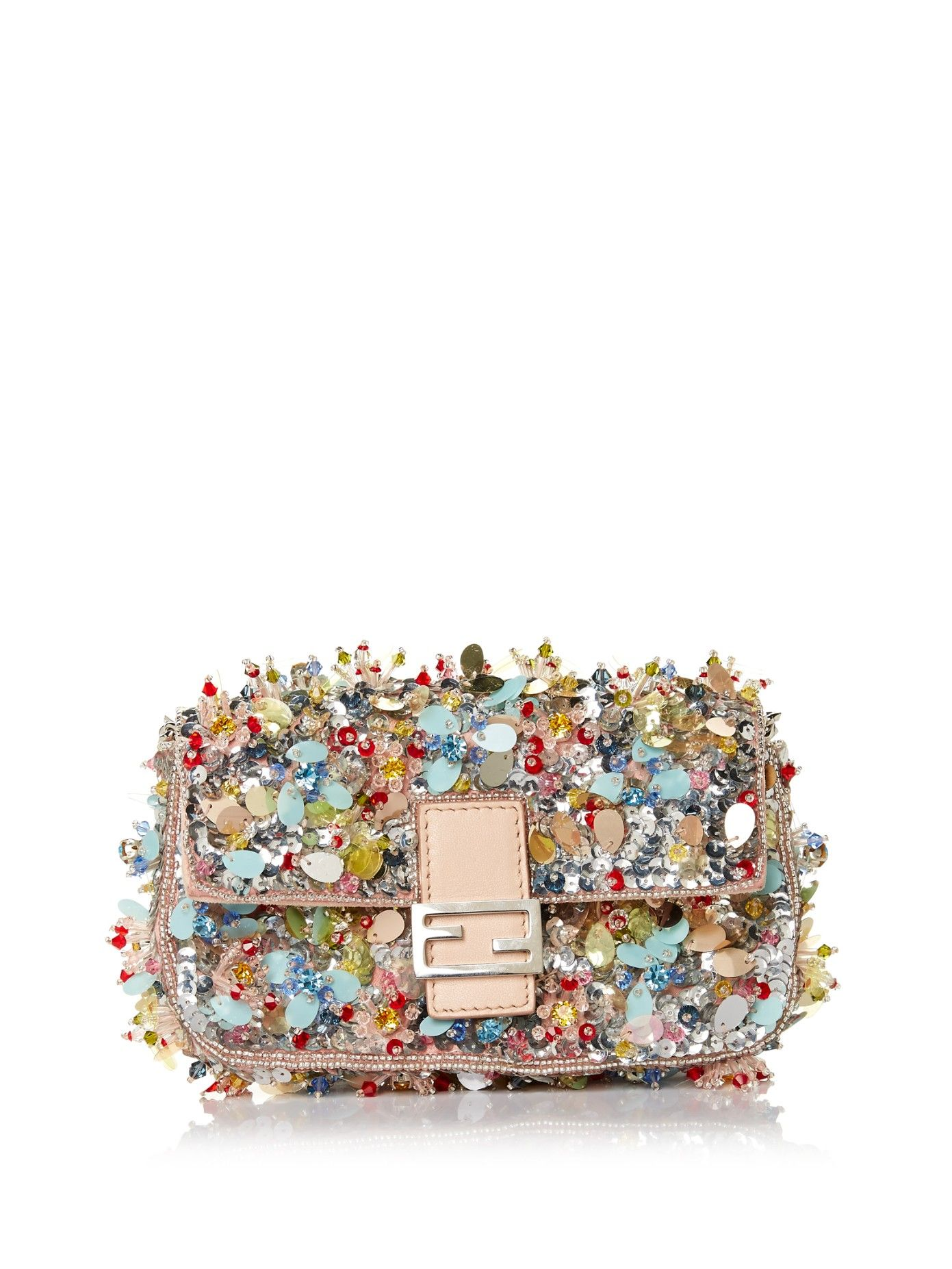 FENDI Micro Baguette sequin-embroidered clutch