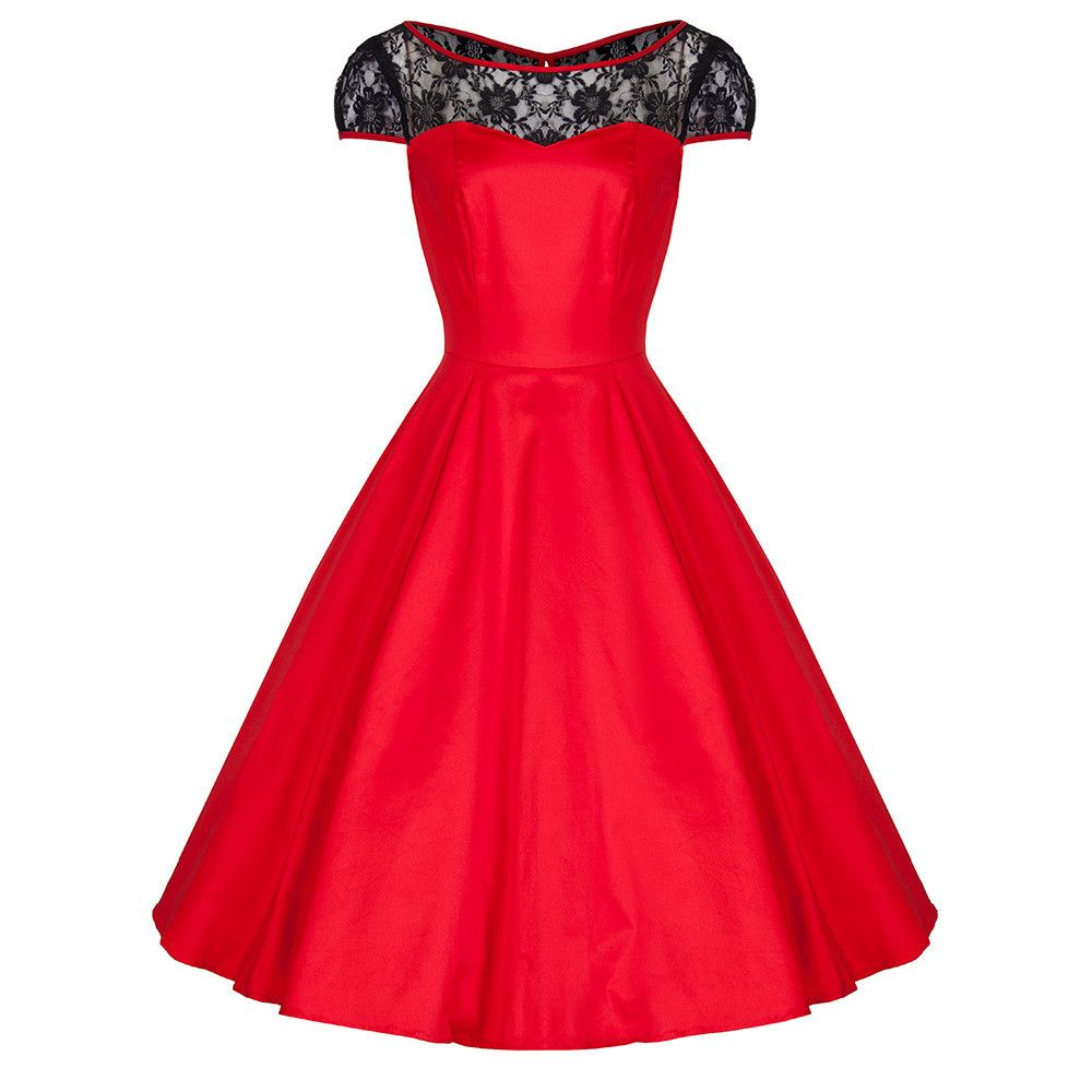 Red Cotton and Black Lace 50s Swing Dress