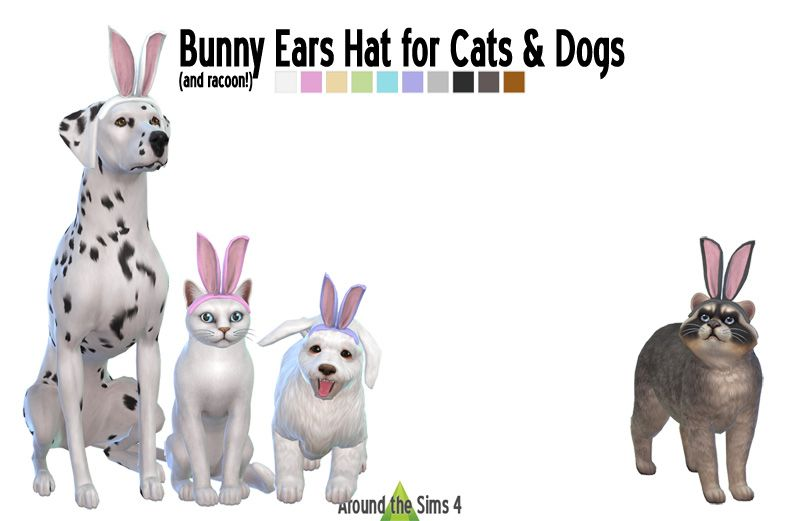 Around The Sims 4 Custom Content Download Bunny Ears Hat For Pets Sims Sims4 Pets Dog Cat Bunny Ears Hat Chapeau Sims 4 Pets Sims Pets Sims 4